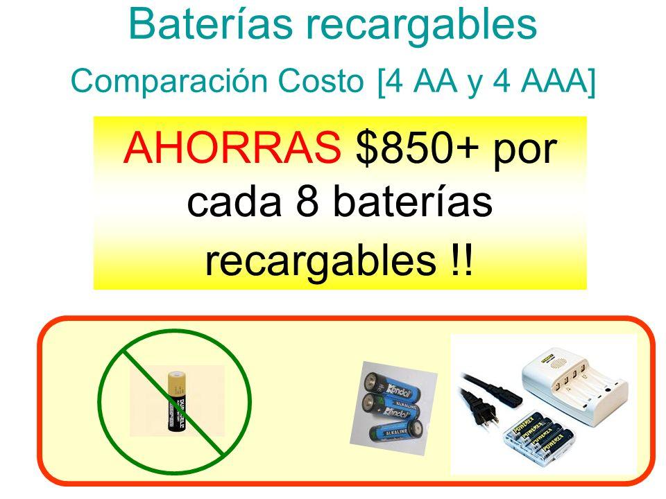 Baterías recargables Comparación Costo [4 AA y 4 AAA]